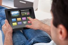 Man With Digital Tablet Stock Photography