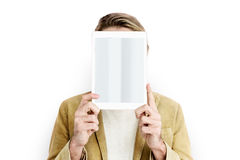 Man Digital Tablet Face Covered Copy Space Technology Concept. Man Digital Tablet Face Covered Technology Concept stock images