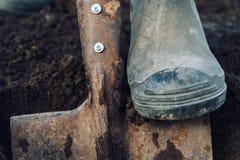 Man digs on garden Royalty Free Stock Photos