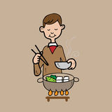 Man dinner in Japanese Shabu style Royalty Free Stock Photo