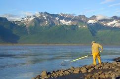 Man Dipnetting for Salmon Royalty Free Stock Photo