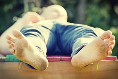 Man with dirty feet. Royalty Free Stock Photo