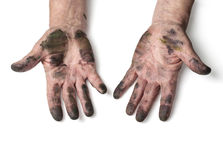 Man with dirty hands Royalty Free Stock Photo