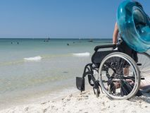 Man disabled on the Black Sea royalty free stock image