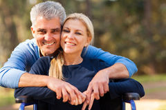 Man disabled wife Royalty Free Stock Image