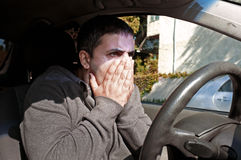 Man in disbelief caught in accident Royalty Free Stock Photography