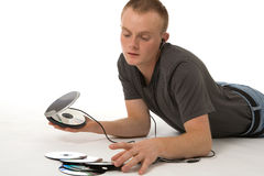 Man with discman Stock Photo