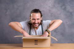 Man is discontent with his delivery Stock Photos