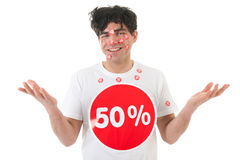 Man with discount Royalty Free Stock Photo