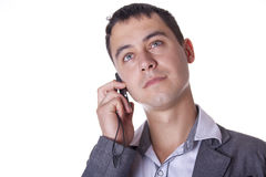 Man discusses  by phone. The man discusses business by phone Stock Photo