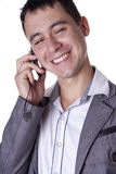 Man discusses by phone. The man discusses business by phone Royalty Free Stock Photography
