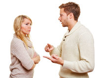 Man discussing with woman. Angry wan discussing with his women in a relationship Royalty Free Stock Photography