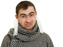 A man with a diseased ears Royalty Free Stock Photo