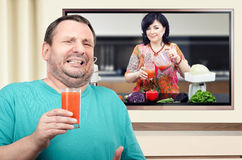 Man disgusted with smoothie detox cleanse Stock Photography