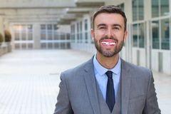 Man with a disgusting messy smile.  stock image