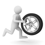 Man with disk wheel on white background Stock Photos