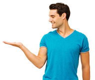 Man Displaying Invisible Product Stock Photo