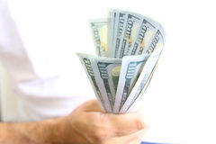Man Displaying a Spread of Cash Royalty Free Stock Photo
