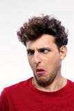 Man with displeased facial expression Stock Photography