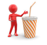 Man and Disposable cup (clipping path included) Royalty Free Stock Images