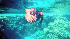 Man dive underwater in snorkeling diving mask. Into clear blue sea water. Tropical underwater reef diving. Slow motion shot stock video footage