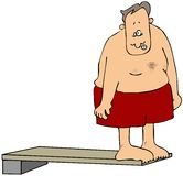 Man on a diving board Royalty Free Stock Photo