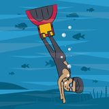 Man diving with fins. Under sea vector illustration graphic design Royalty Free Stock Photography
