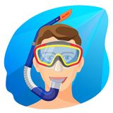 Man in diving mask underwater vector. Person in diving equipment. Man in diving mask underwater vector illustration. Person in diving equipment breath with help Stock Photos