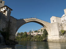 Man diving from the Old Bridge of Mostar. Royalty Free Stock Image