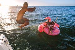 Man diving in sea with friends on inflatable toy. Man diving in the sea with friends sitting inflatable toy. Group of friends enjoying a summer day Stock Photography