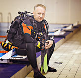 Man in a diving suit Royalty Free Stock Photography