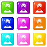Man with dizziness icons 9 set Royalty Free Stock Photos