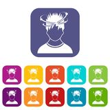 Man with dizziness icons set Royalty Free Stock Photo