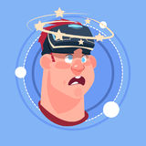 Man Dizzy Male Emoji Wearing 3d Virtual Glasses Emotion Icon Avatar Facial Expression Concept. Vector Illustration Royalty Free Stock Photos