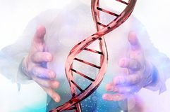 Man with DNA molecule between his hands. Gene manipulation concept Royalty Free Stock Photography