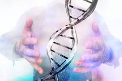 Man with DNA molecule between his hands. Gene manipulation concept Stock Image