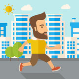 Man do jogging under the heat of sun Stock Photos
