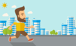 Man do jogging under the heat of sun Stock Images