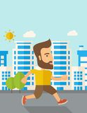 Man do jogging under the heat of sun Stock Photos