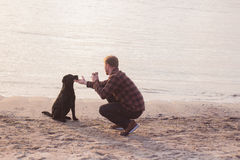 Man do photo of his dog. Young caucasian male walking with dog on the morning beach, sunset on the sea or ocean and man with black labrador puppy Royalty Free Stock Photo