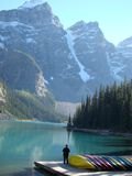 Man on a dock Lake Moraine Royalty Free Stock Photo