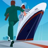 Man at the dock running to the ship. Young adult man in a business suit at the dock running to big cruise ship. Missing or late concept Royalty Free Stock Photo