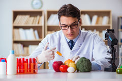 The man doctor checking the fruits and vegetables Stock Image