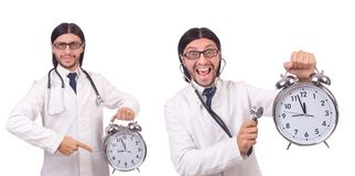 The man doctor with clock  on white Royalty Free Stock Photos