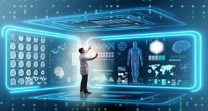 The man doctor in futuristic medicine medical concept. Man doctor in futuristic medicine medical concept Royalty Free Stock Images