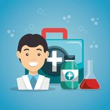 Man doctor with medical services icons. Vector illustration design Stock Photo