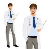 Man doctor portrait. Attractive young man doctor with clipboard and phonendoscope portrait isolated on white background vector illustration Royalty Free Stock Photos