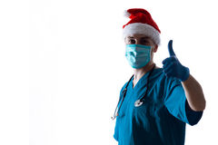 Man Doctor Surgeon In Christmas Santa Hat Stock Photos
