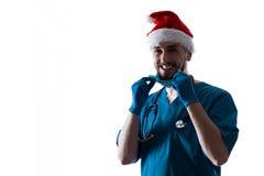 Man Doctor Surgeon In Christmas Santa Hat Royalty Free Stock Photo