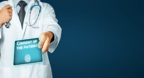 Man Doctor Using Tablet, Patient Consent. Healthcare And Medicine Concept Royalty Free Stock Photos